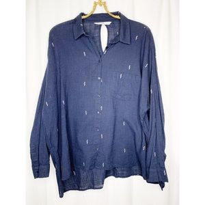 Zara oversized collared linen button down